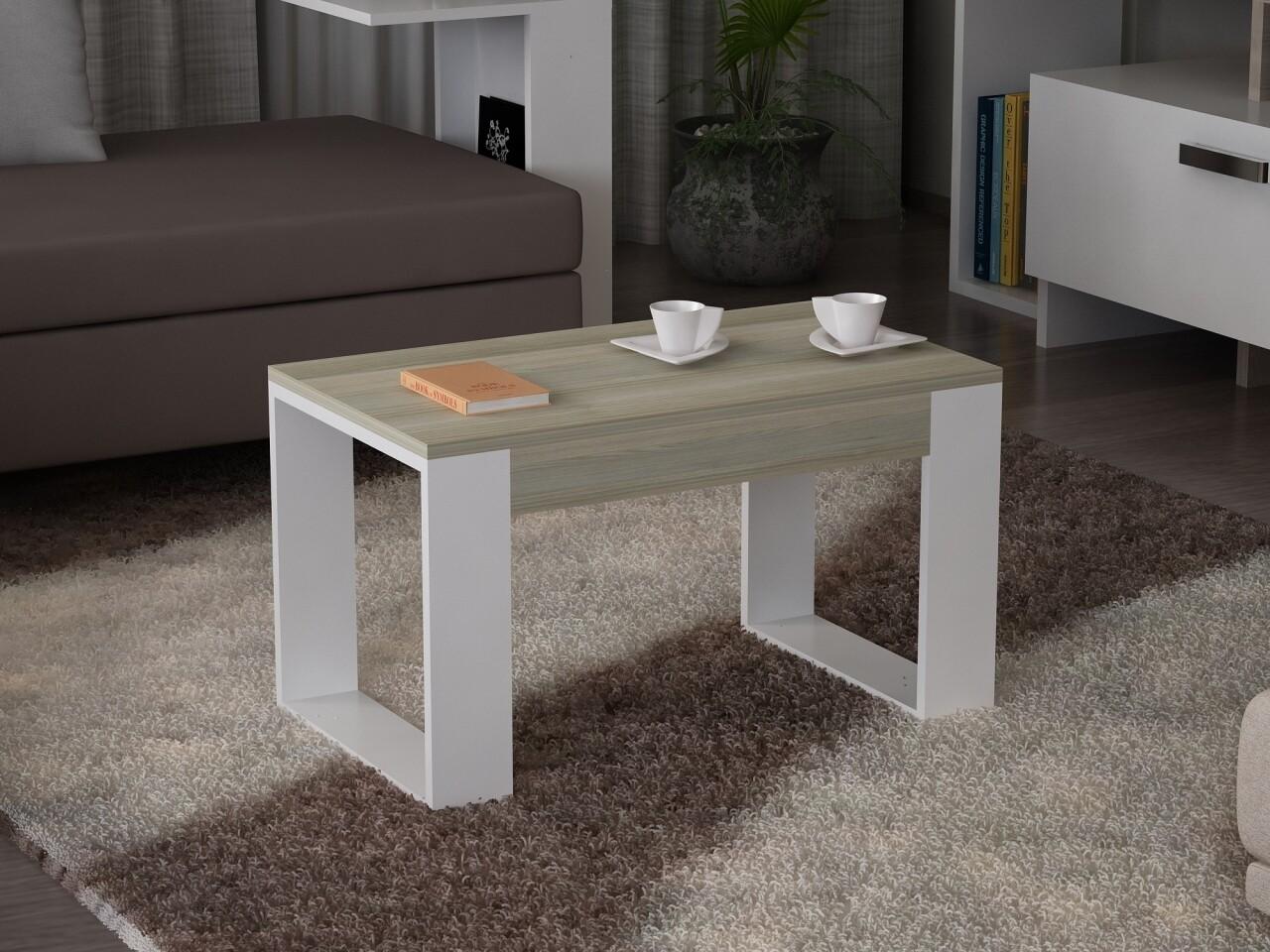 Masuta pentru living, Wooden Art, Arda White, 60x45x45 cm