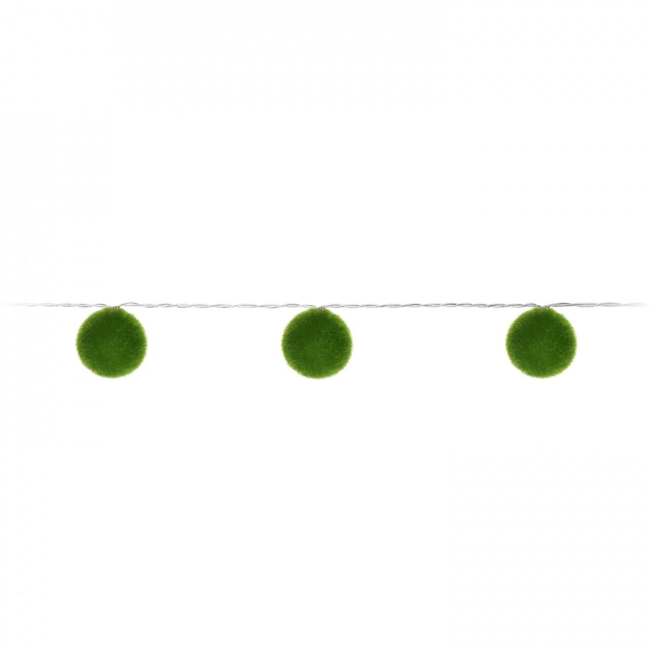 Ghirlandă cu 10 Led-uri Ball Puff Green