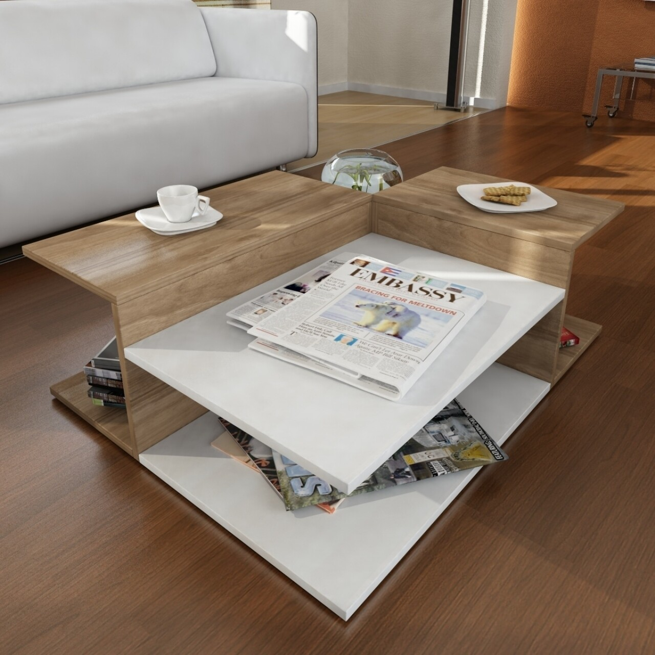 Masuta pentru living, Wooden Art, Friend White Walnut, 95x32x75 cm