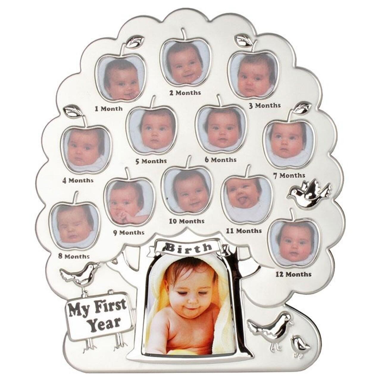 Rama foto Silver Tree, InArt, 13 fotografii, 24 x 28 cm, aluminiu/sticla, argintiu
