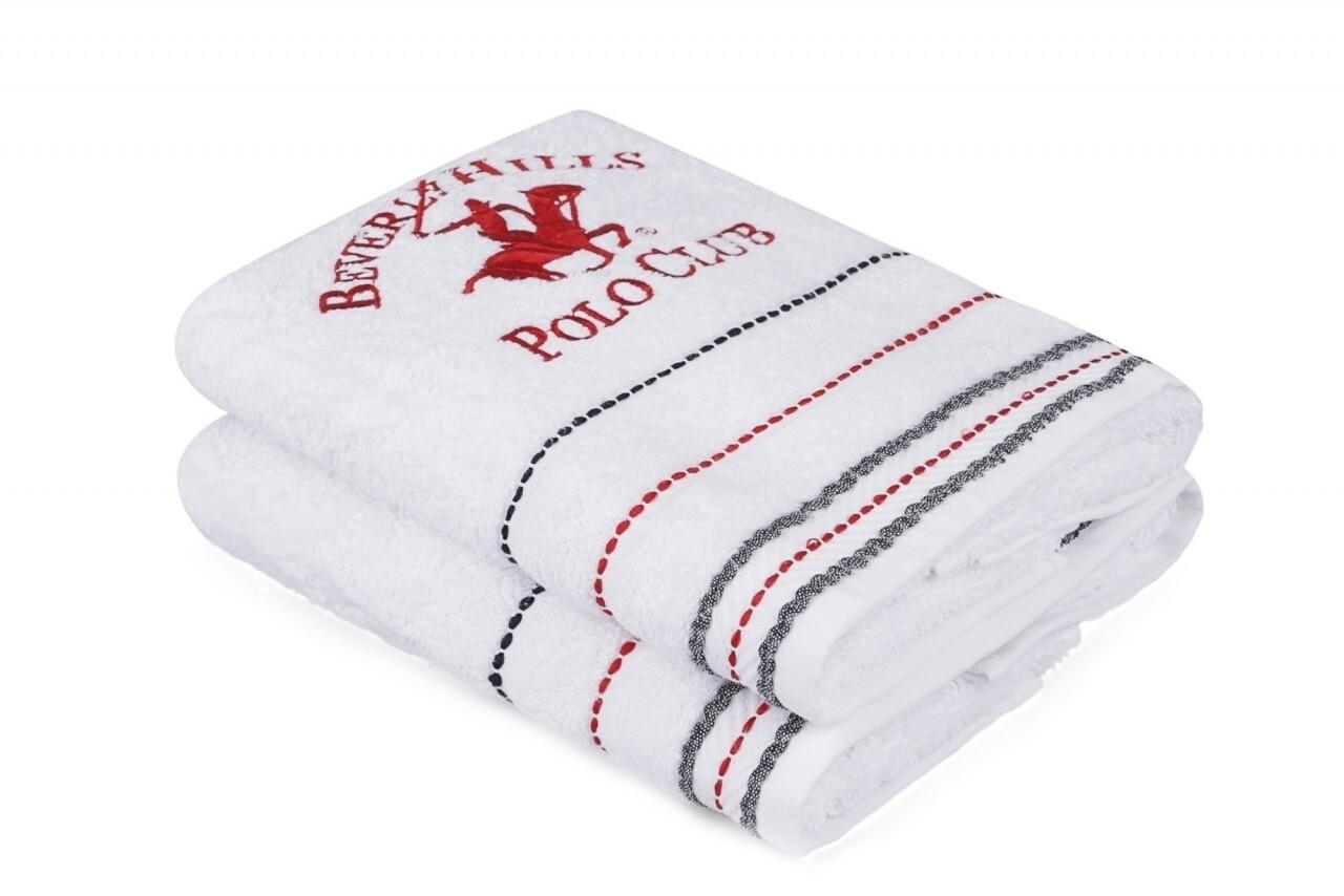 Set 2 prosoape de maini, Beverly Hills Polo Club, 50x90 cm, 100% bumbac, alb 47