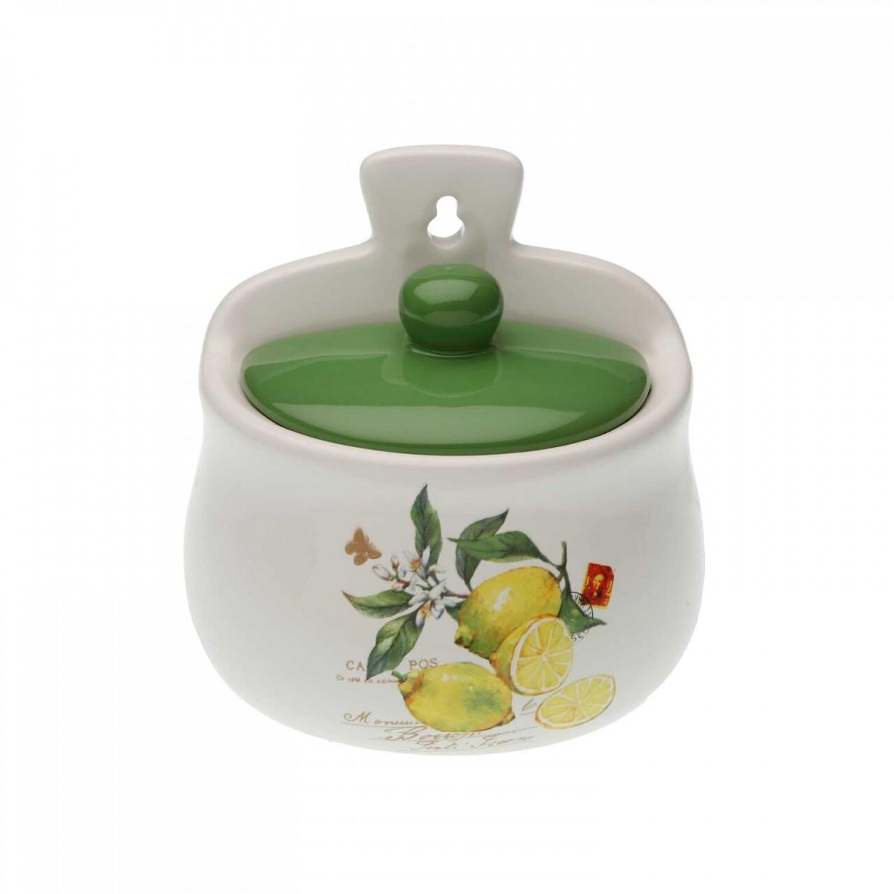 Recipient sare Lemons, Versa, 12.3 x 8.10 x 12.20 cm, ceramica, alb/verde
