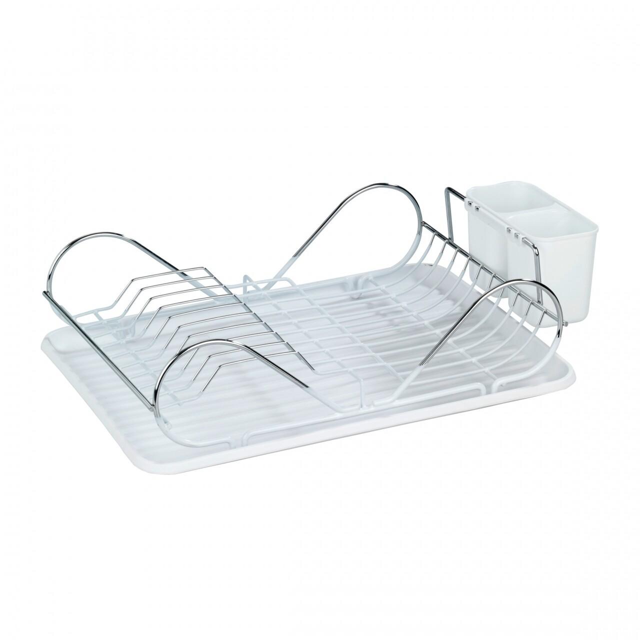 Scurgator de vase cu suport pentru tacamuri Clean, Wenko, 12.5 x 32 x 47 cm, plastic/inox, alb/argintiu