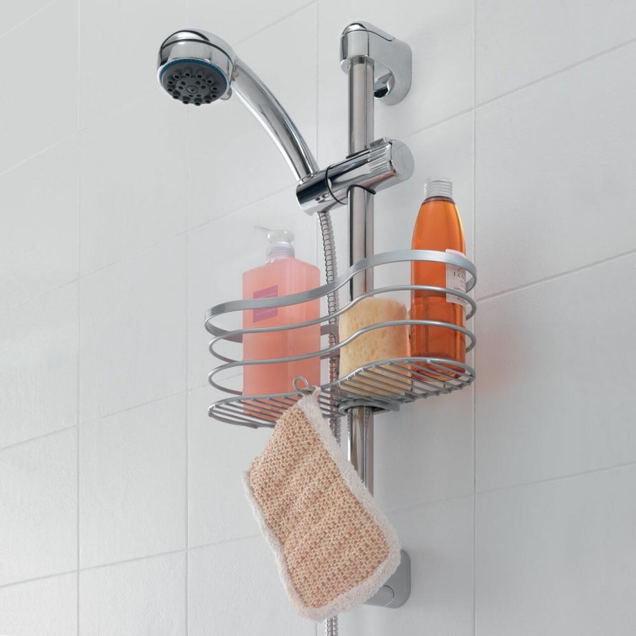 Polita baie cu sistem de prindere Viva Metaltex,  29x12x11 cm, metal/ invelis Polytherm/polipropilena, argintiu