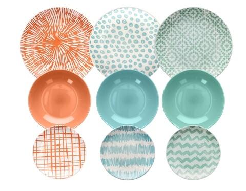 Serviciu de masa 18 piese, Louise Agua, Tognana, ceramica glazurata, multicolor