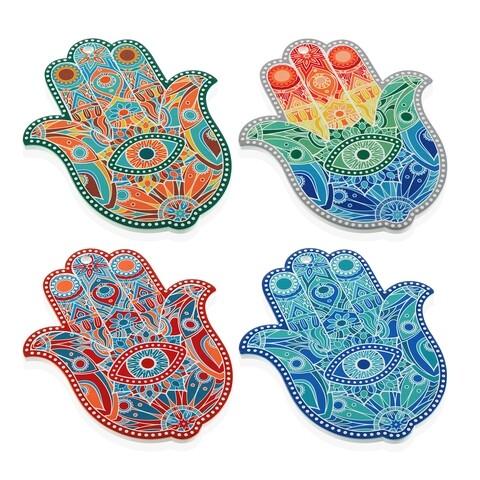 Suport asortat pentru recipiente fierbinti, Versa, Hamsa, 1.5 x 18 x 23 cm, ceramica, multicolor