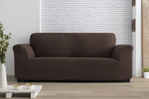 Husa elastica canapea, Belmarti, Milos Brown, 3 locuri