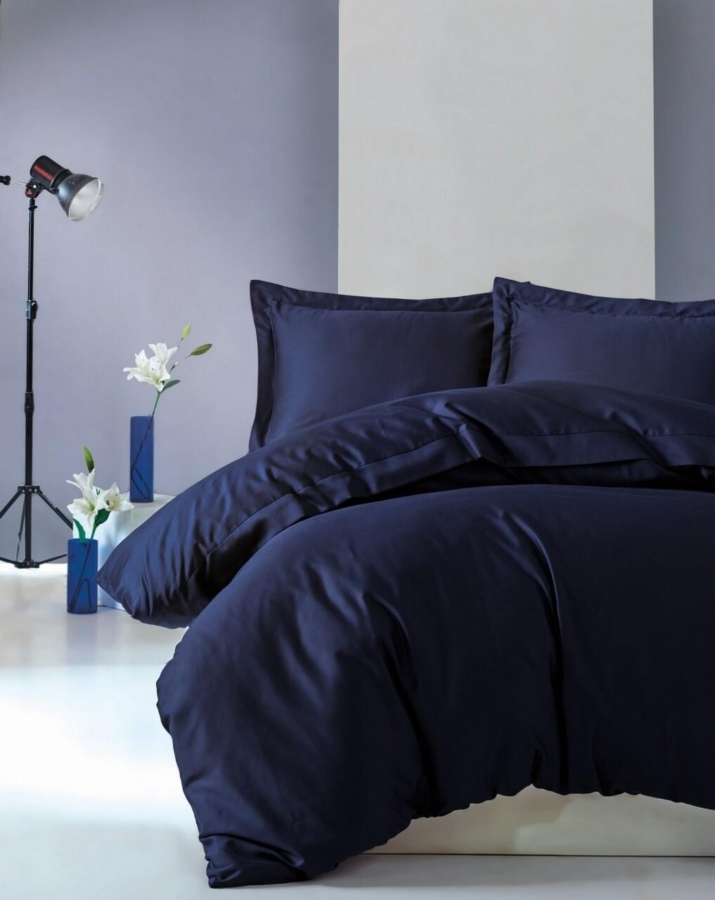 Lenjerie de pat dubla, 4 piese, 100% bumbac satinat, Cotton Box, Premium Elegant, bleumarin