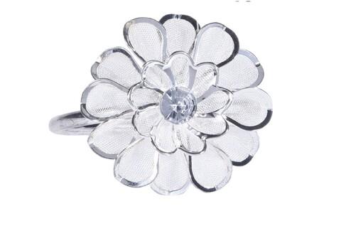 Set 4 inele pentru servetele Daisy , 4x5.5x4.5 cm, metal, argintiu