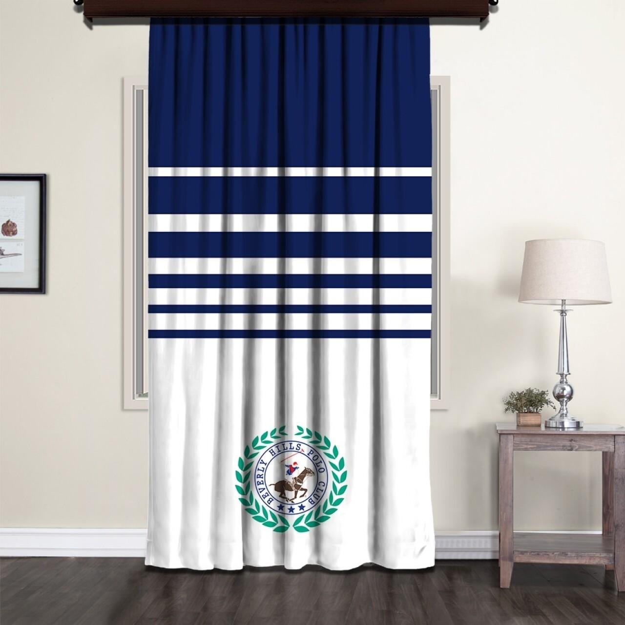 Draperie Beverly Hills Polo Club, Crt 10-1, 140x260, 100% poliester, alb/albastru