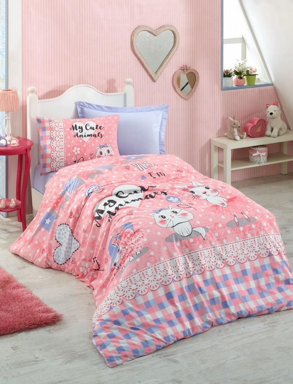 Lenjerie de pat pentru o persoana, 3 piese, 100% bumbac ranforce, Cotton Box, Animals