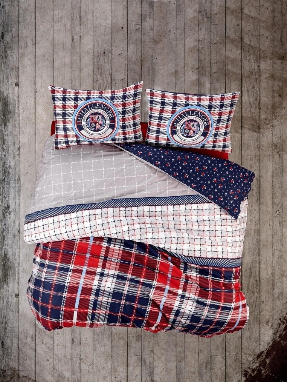 Lenjerie de pat dubla Marco, Cotton Box, 4 piese, 240 x 260 cm, 100% bumbac ranforce, multicolora