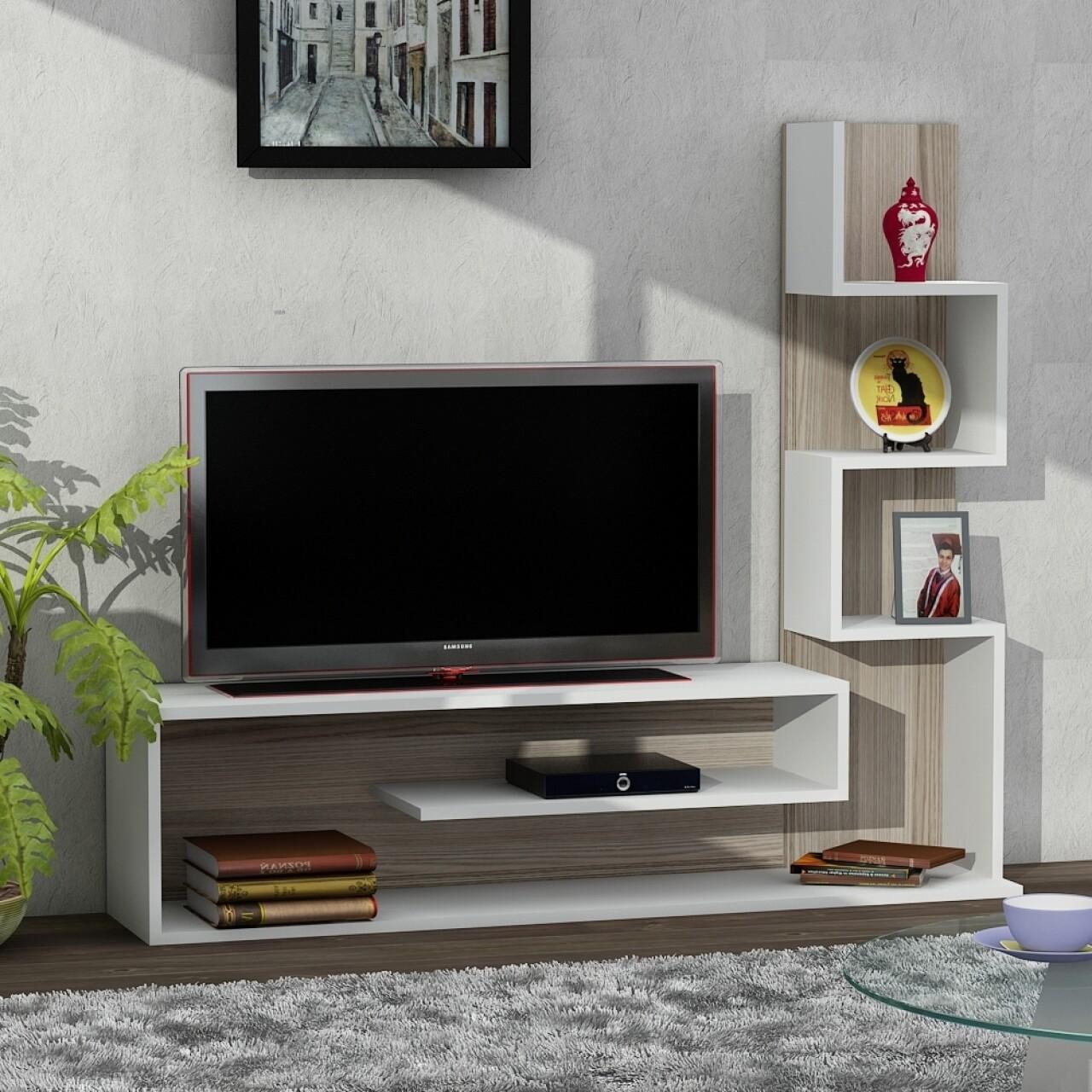 Comoda TV cu raft, Wooden Art, Metehan White Cordoba, 149.5x120.8x29.5 cm