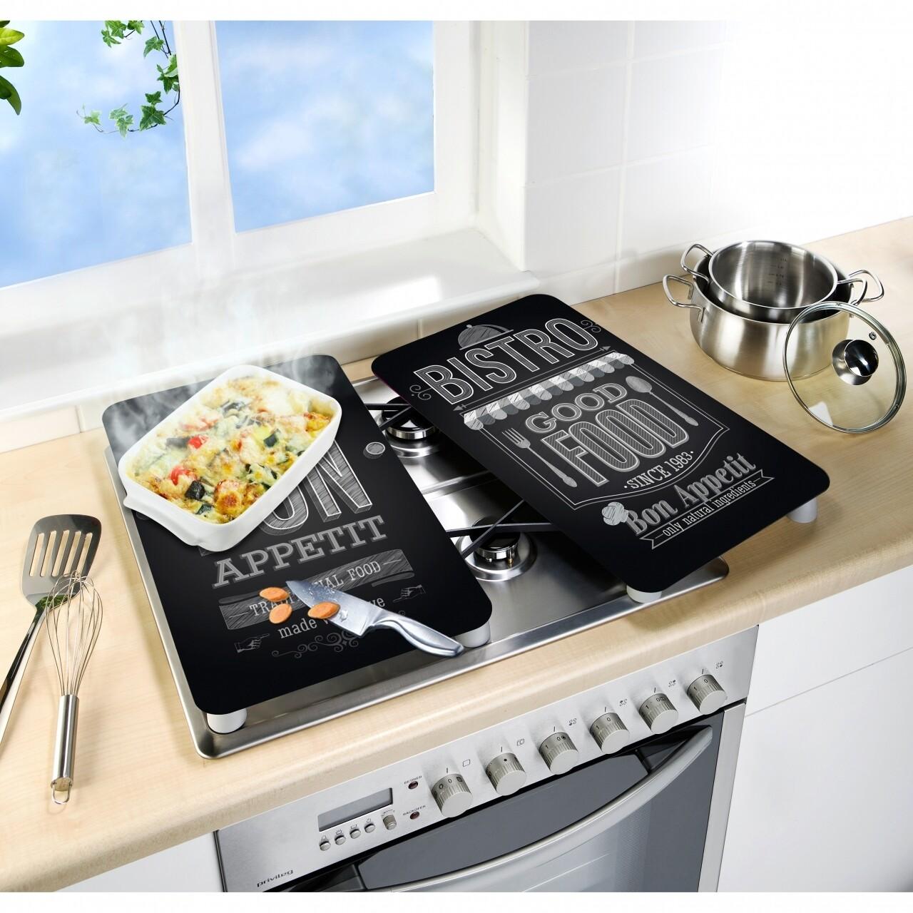Set 2 protectii universale pentru aragaz Bon Appetit, Wenko, sticla termorezistenta/ termoplastic/plastic, alb/negru