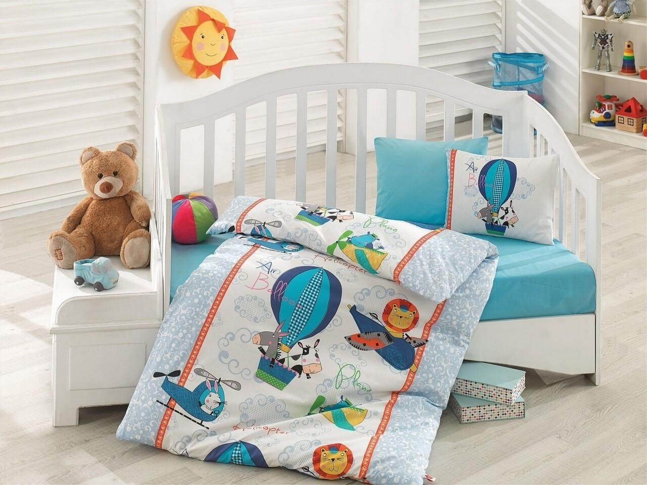 Lenjerie de pat pentru copii, 4 piese, 100% bumbac ranforce, Cotton Box, Air