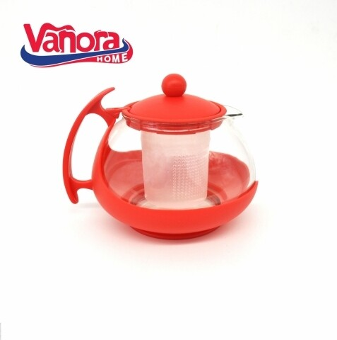 Ceainic cu infuzor, Vanora, 750 ml, sticla/plastic, rosu