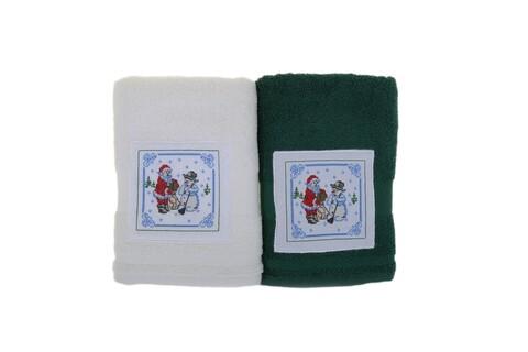 Set 2 prosoape de maini, Bahar Home, Kardan Adam, 50x100 cm, 100% bumbac, alb/verde