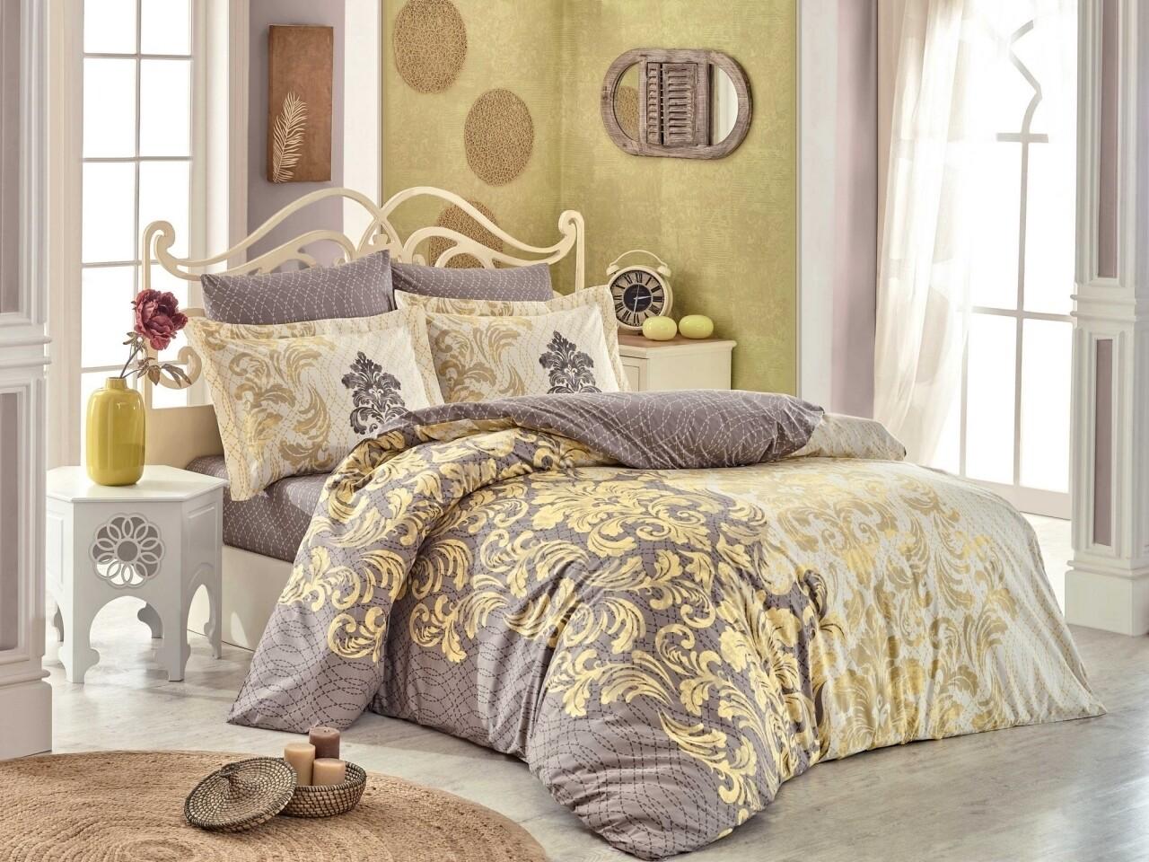Lenjerie de pat pentru o persoana, 3 piese, 100% bumbac poplin, Hobby, Mirella Cappuccino, bej/auriu