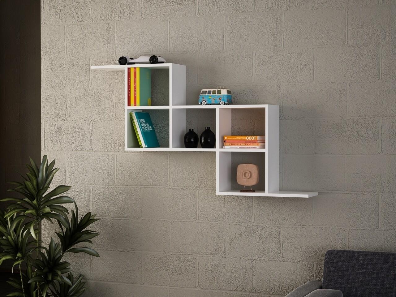 Raft pentru perete. Wooden Art, Zeta White, 147.2x82.2x22 cm