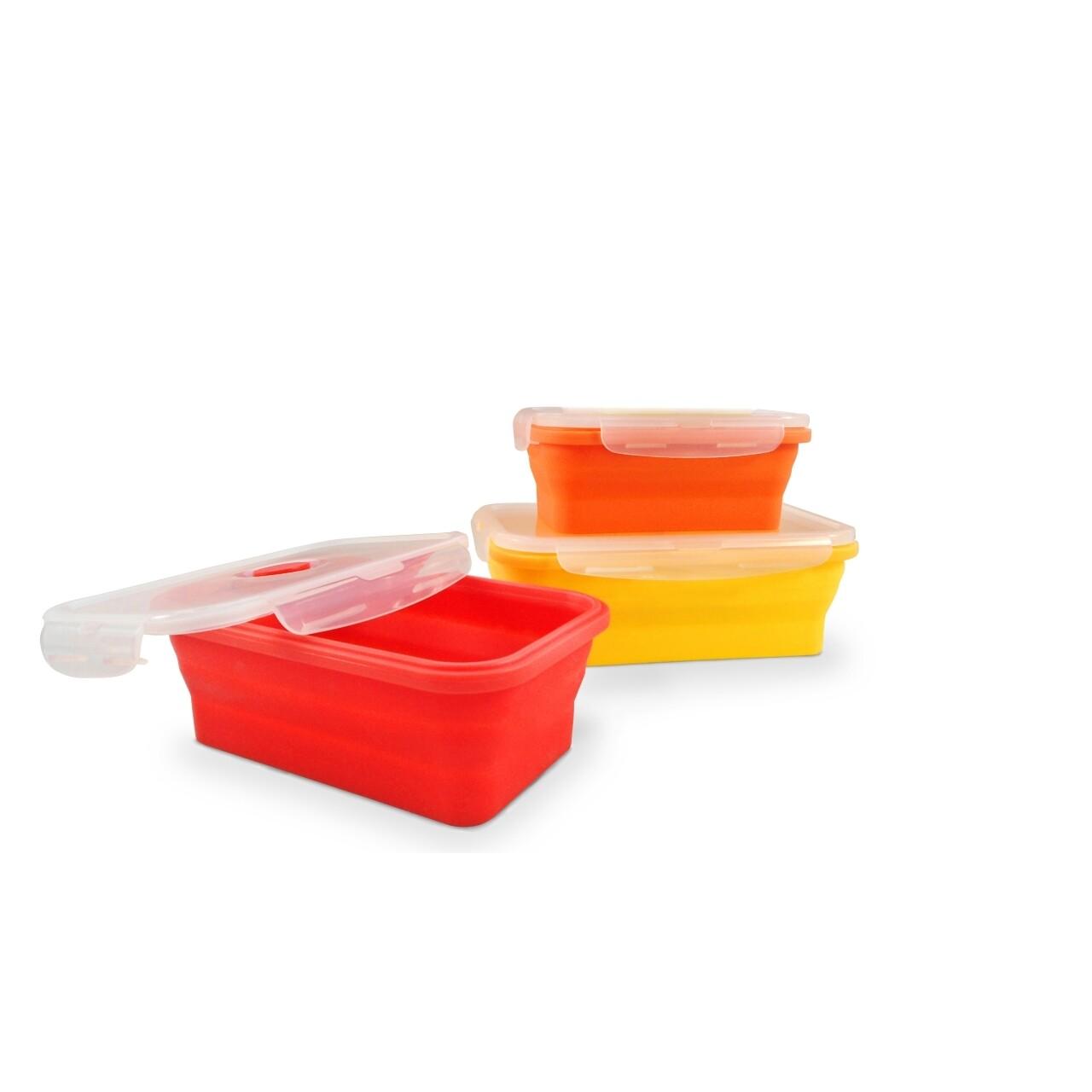 Set 3 cutii alimentare pliabile Jocca, 10 x 13 x 23 cm, silicon, multicolor