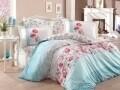 Lenjerie de pat pentru o persoana, 3 piese, 100% bumbac poplin, Hobby, Fiesta Aqua, multicolora