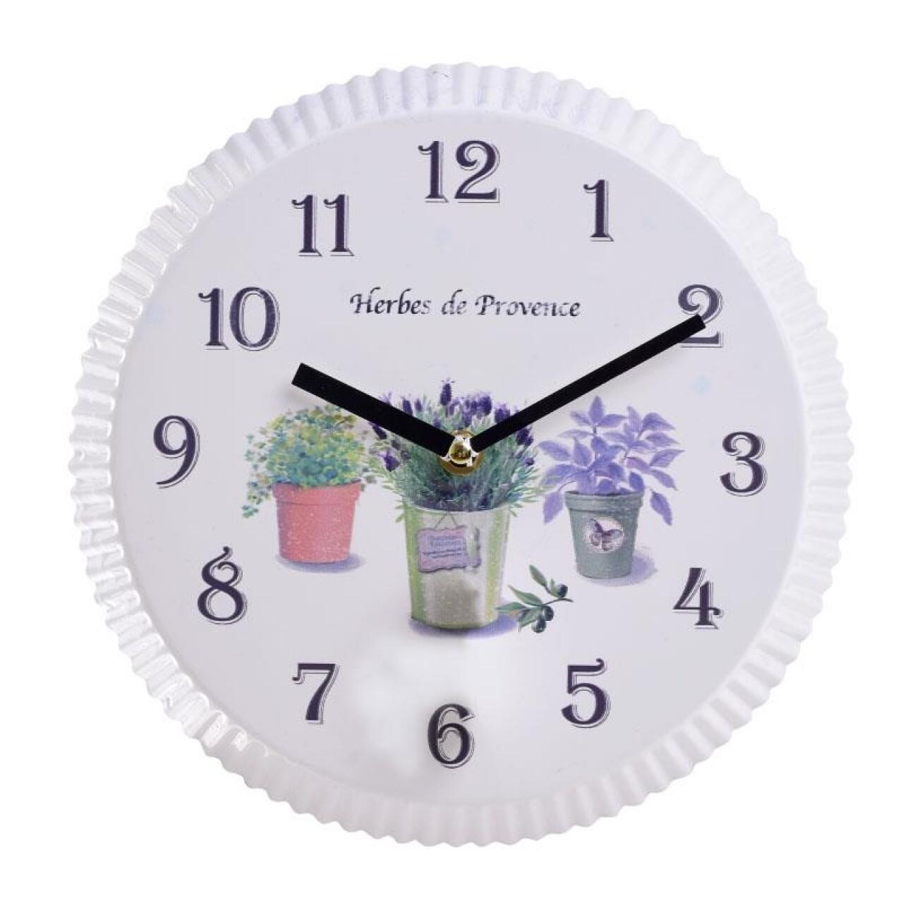 Ceas de perete Herbes de Provence, InArt, 25 x 2 cm, fier, multicolor