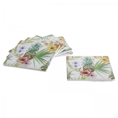 Set 6 suporturi de pahar Pineapple, InArt, 10 x 10 x 4 cm, plastic, multicolor