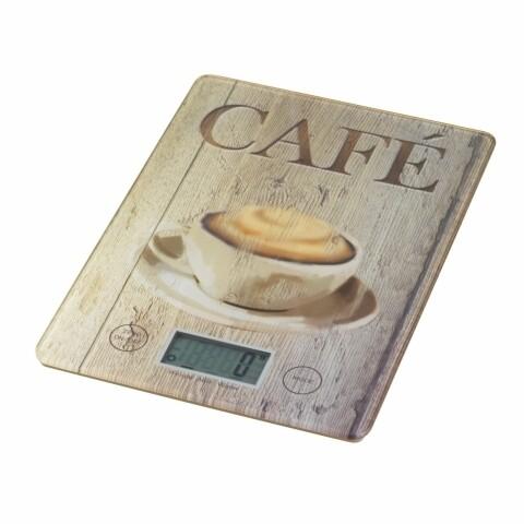 Cantar digital de bucatarie Cafe Wenko, 14 x 19.5 x 1.2 cm, sticla termorezistenta, bej