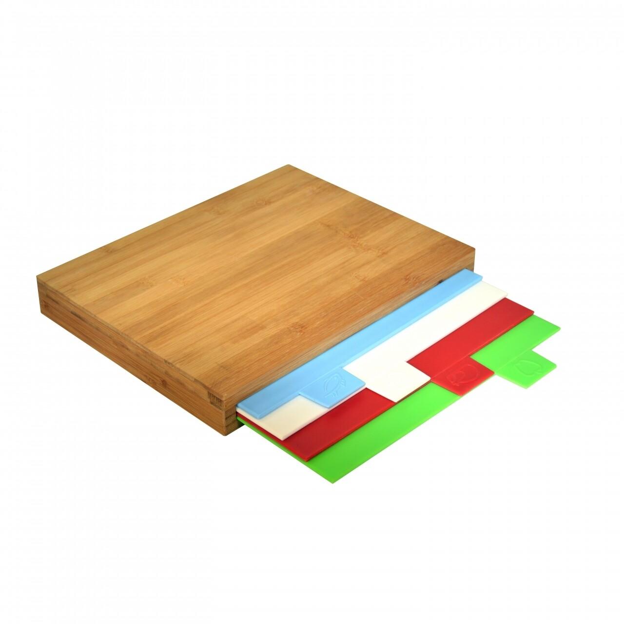 Set 5 tocatoare Colors, Jocca, 25 x 33 x 4 cm, bambus/plastic, multicolor/natur