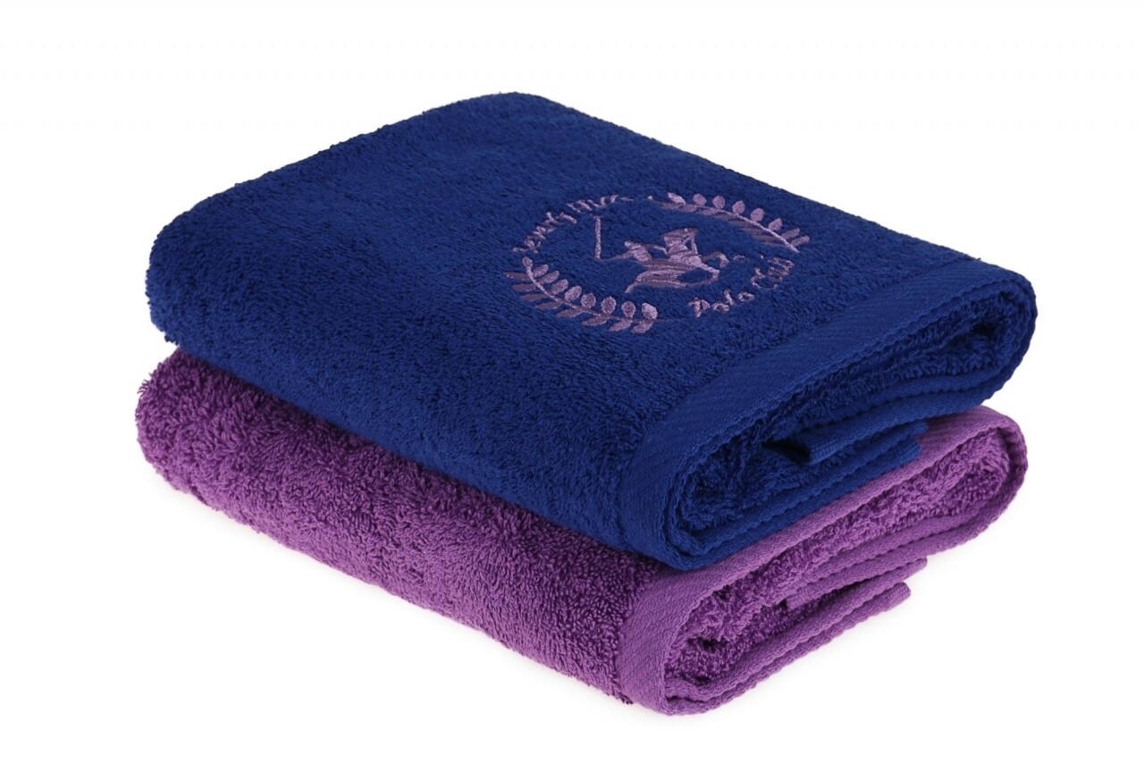 Set 2 prosoape de maini, Beverly Hills Polo Club, 50x90 cm, 100% bumbac, albastru inchis/lila