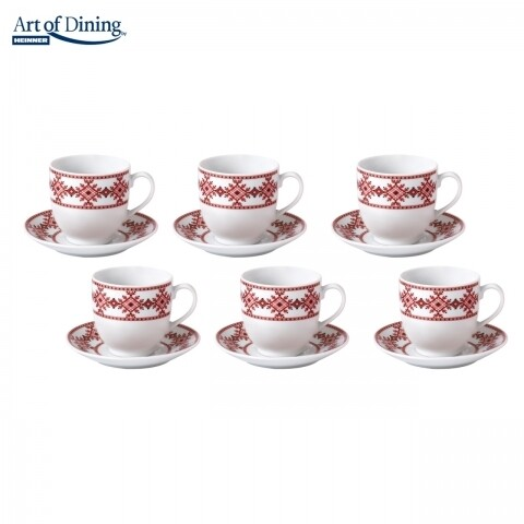 Set 6 cesti de ceai/cafea Traditional, Heinner Home, 160 ml, portelan, alb/rosu