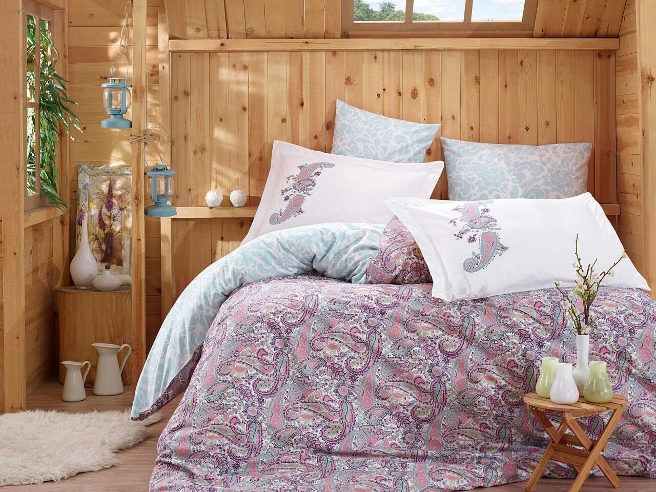 Lenjerie de pat pentru o persoana, 3 piese, 100% bumbac poplin, Hobby, Giulia Lilac, multicolora