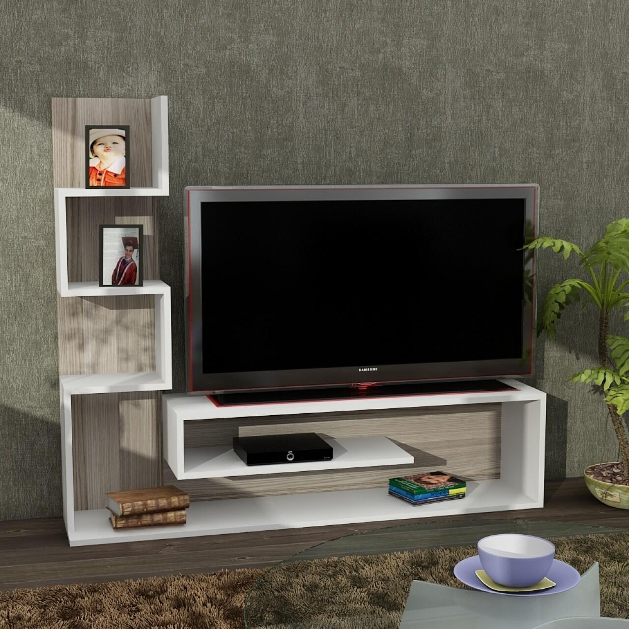 Comoda TV, Wooden Art, Marina White Cordoba, 149.5x120.8x29.5 cm