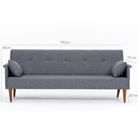 Canapea extensibila Navan, Heinner, 3 locuri, stofa, gri
