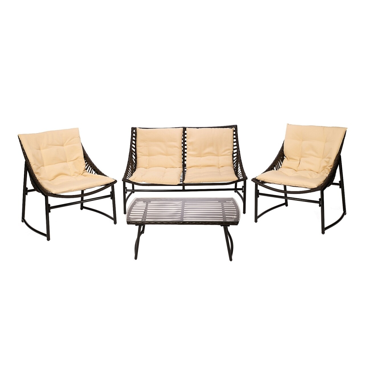 Set mobilier de gradina Sydney, Heinner Home, 4 piese, negru/crem