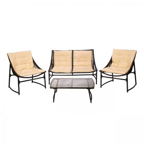 Set mobilier de gradina, Heinner, 4 piese, Sydney Black/Cream