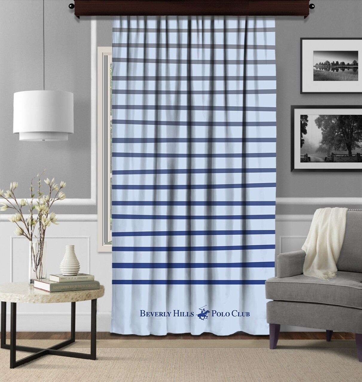 Draperie Beverly Hills Polo Club, 140x260, 100% poliester, Blue/Grey