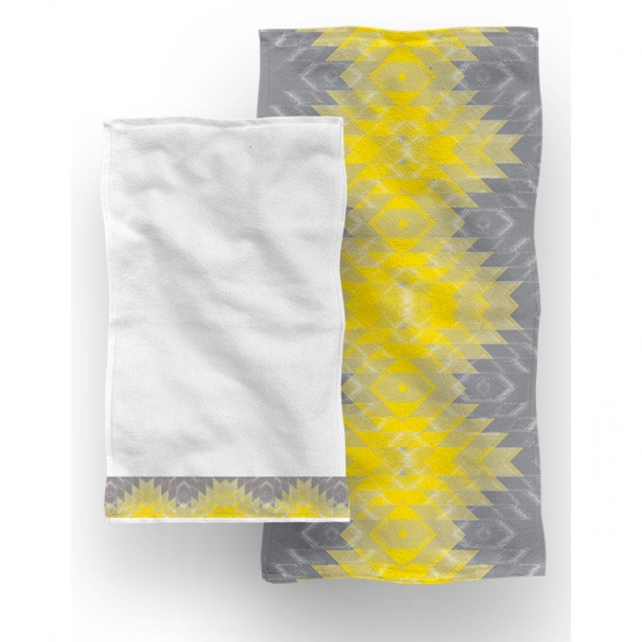 Set 2 prosoape de baie Sunny, Aglika, 50 x 100 cm/ 50 x 30 cm, 70% bumbac, 30%  microfibra, multicolor