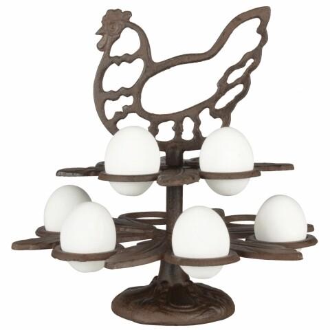 Suport decorativ pentru oua, Esschert Design, 26.4 x 25.2 x 25.2 cm, fonta, maro