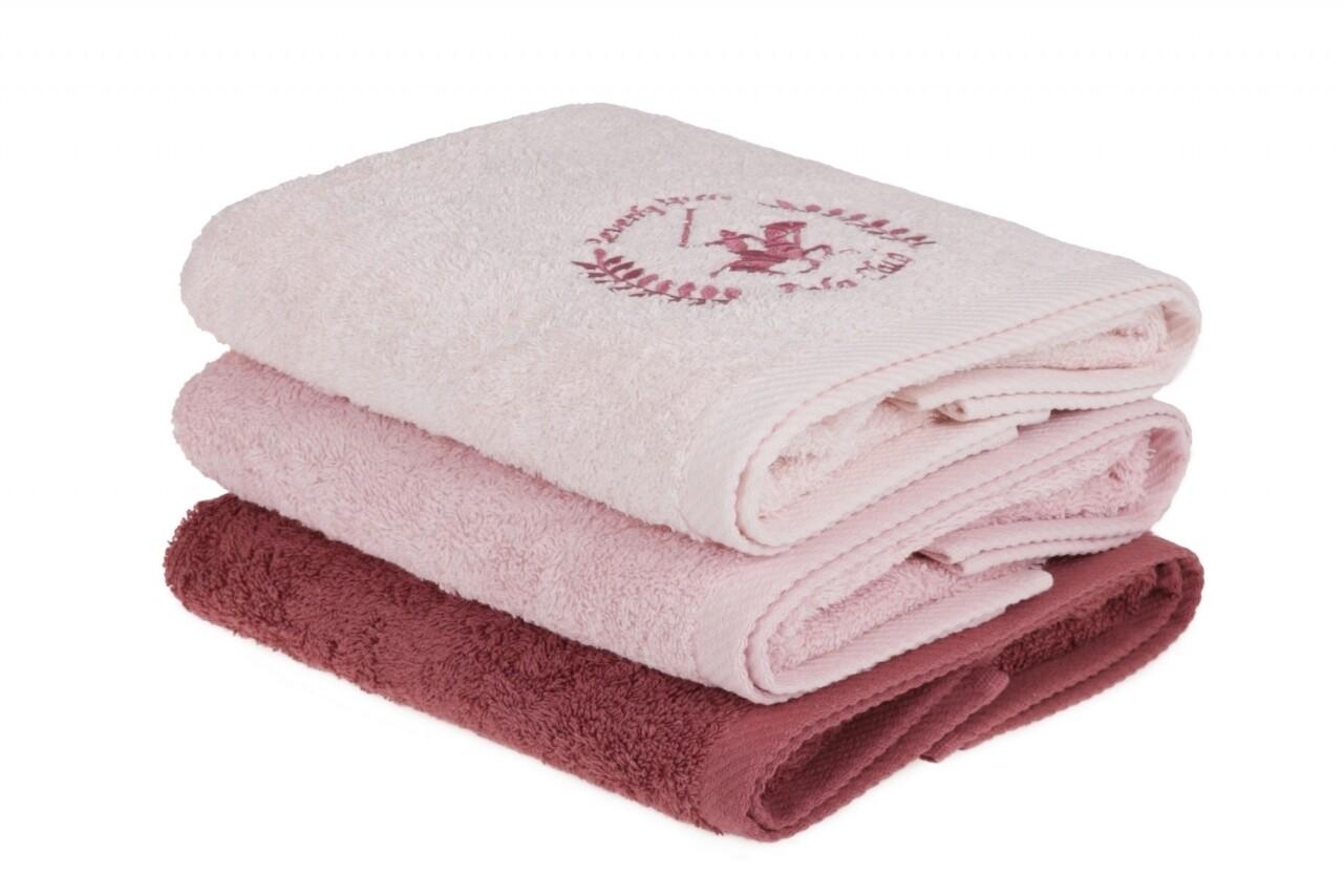 Set 3 prosoape de maini Beverly Hills Polo Club, 50x90 cm, 100% bumbac, Pink/Powder/Dusty Rose