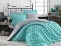 Lenjerie de pat pentru o persoana, 3 piese, 100% bumbac poplin, Hobby, Nazende, turcoaz