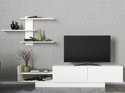 Comoda TV cu raft Egemen, Woody Fashion, alb