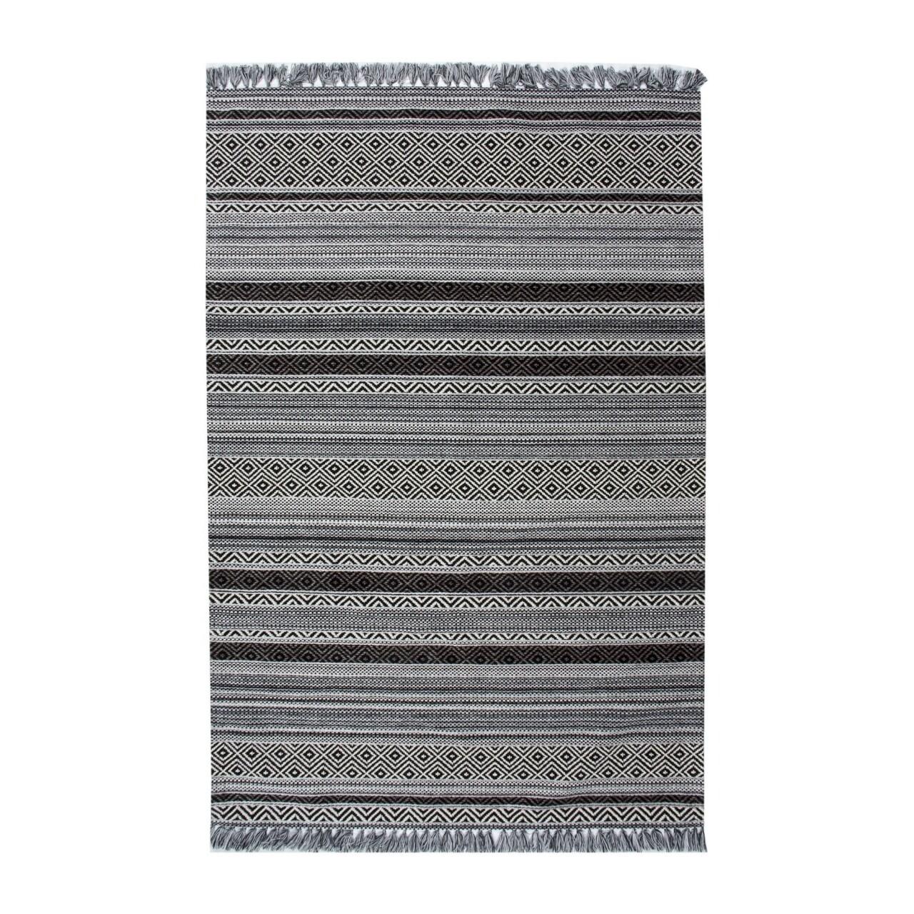 Covor rezistent IN 02 - White, Black, 80x150 cm, gri