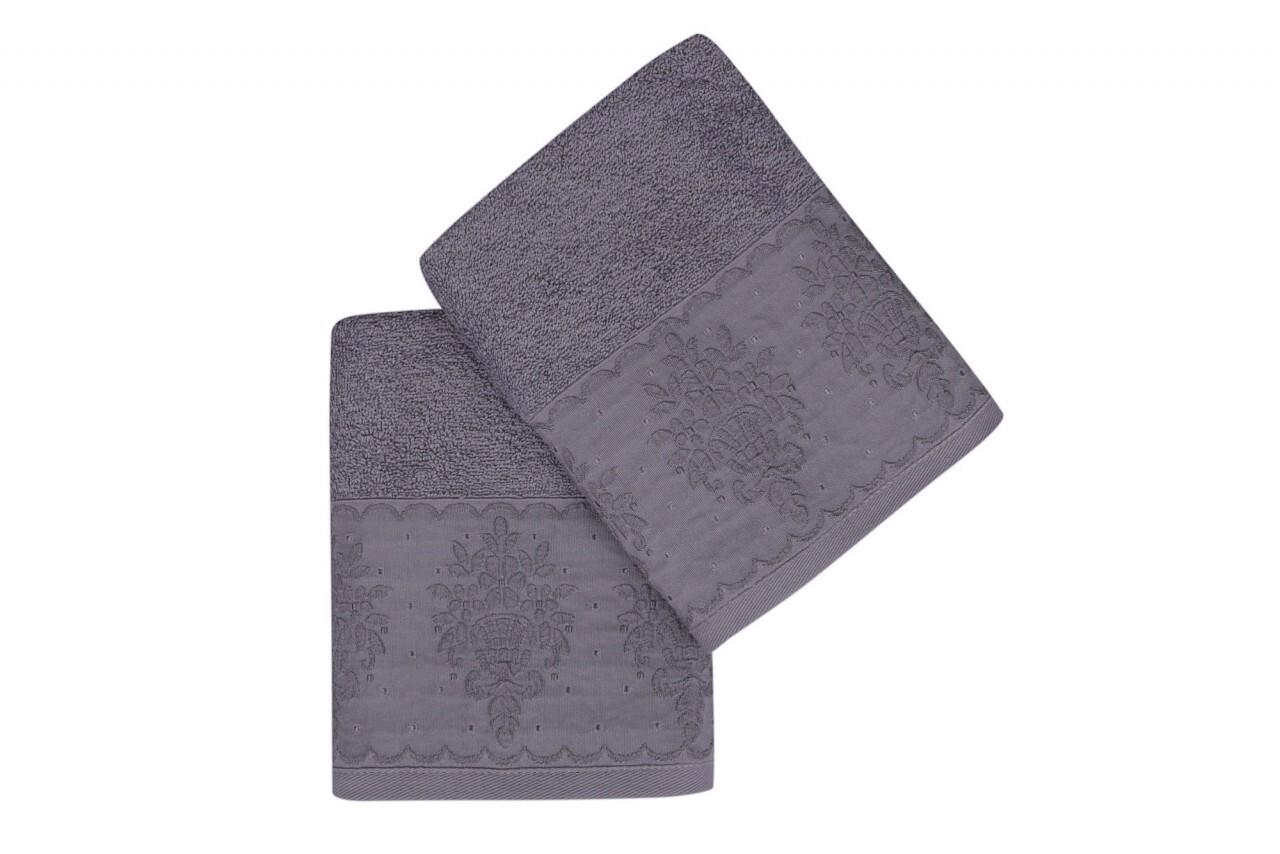 Set 2 prosoape de maini 50x90 cm, 100% bumbac, Soft Kiss, Buket  Purple