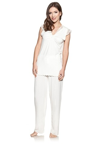 Pijama cu pantaloni lungi dama, Luisa Moretti, 1115, 100% bambus, crem, marimea 34/36 - S