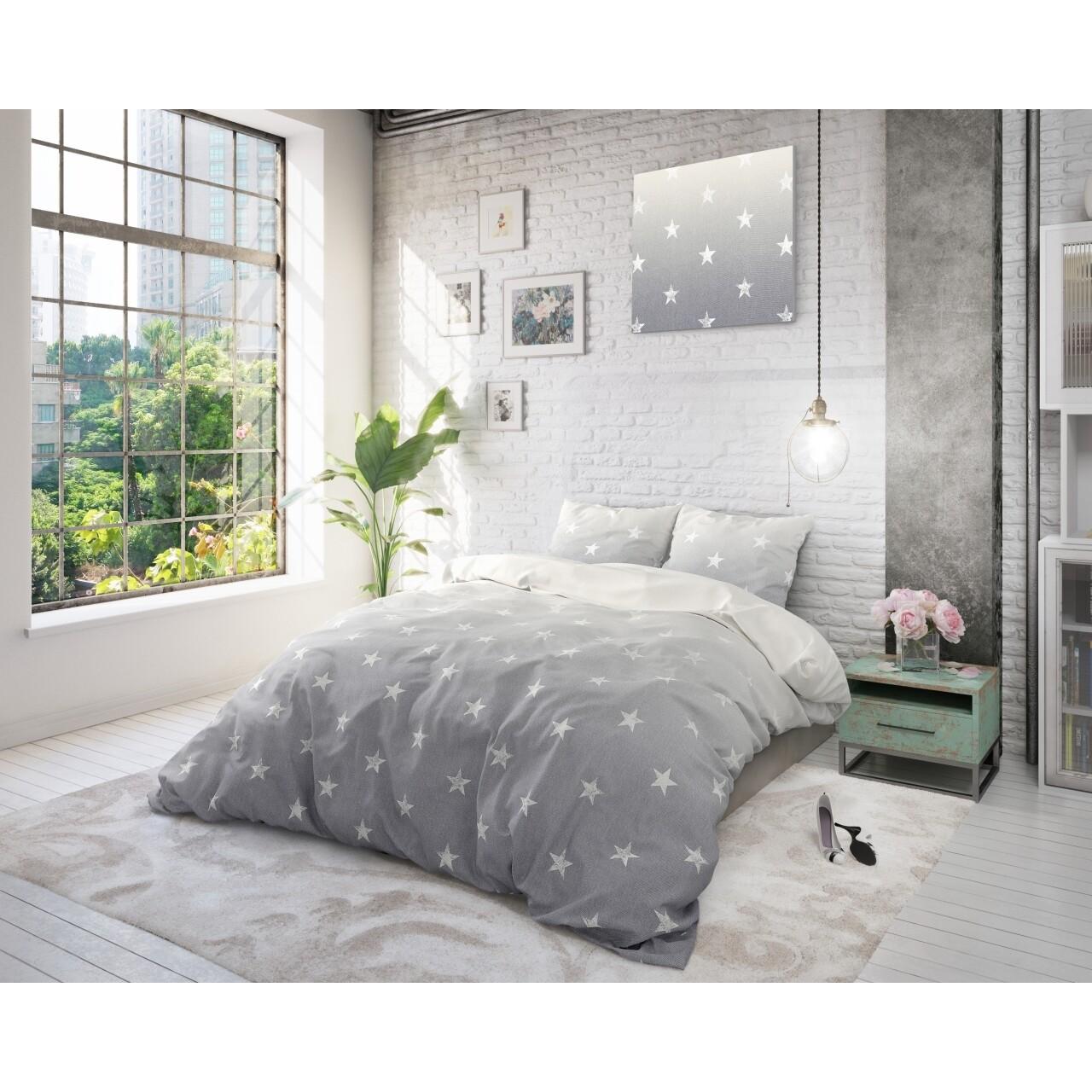 Lenjerie de pat pentru două persoane Twinkle Stars Grey, Sleeptime, policoton