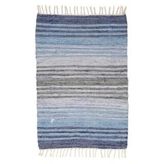 Covor Chindi Stripes, InArt, 60x120 cm, bumbac, albastru