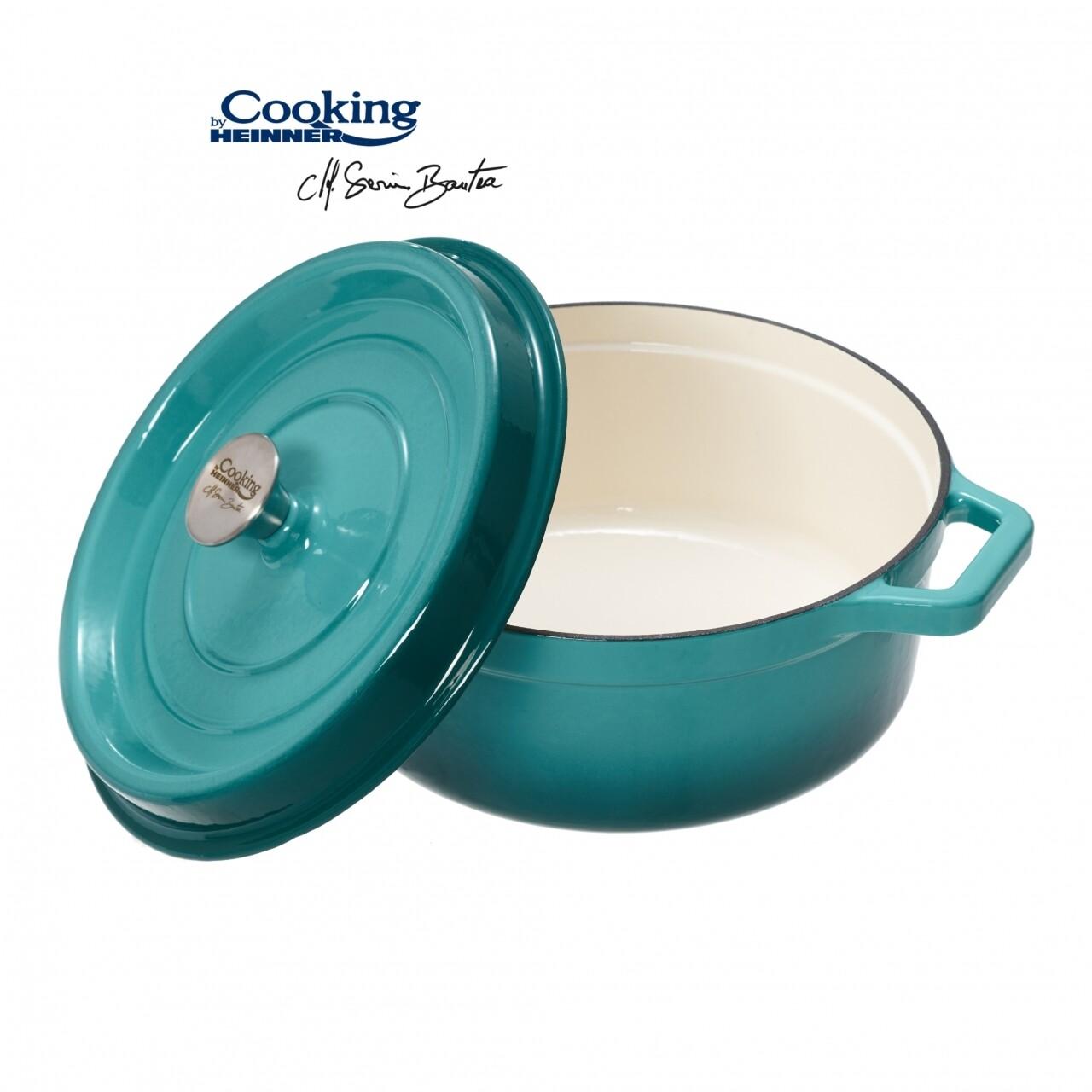 Cratita emailata, Cooking by Heinner, 4.4 l, fonta, bej si bleu