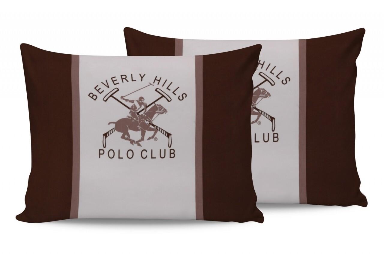 Set 2 fete de perna 50x70, 100% bumbac, Beverly Hills Polo Club, BHPC 029 - Brown, Alb/Maro