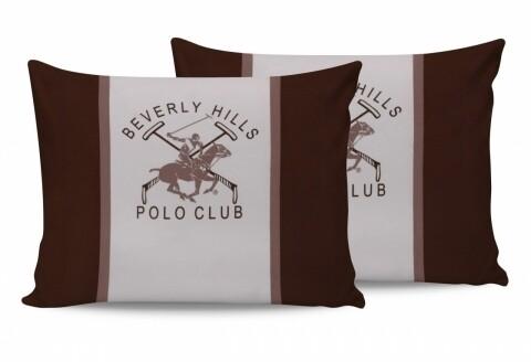 Set 2 fete de perna 50x70, 100% bumbac, Beverly Hills Polo Club, Alb/Maro